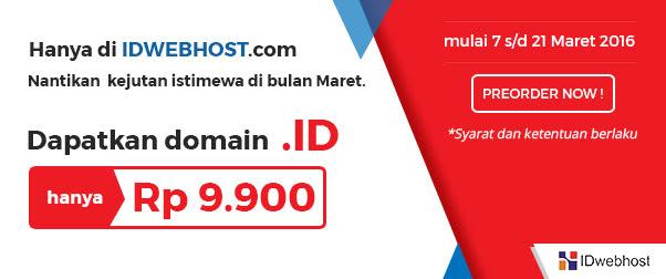 Promo IDWebhost: Domain .ID Hanya Rp 9.900!