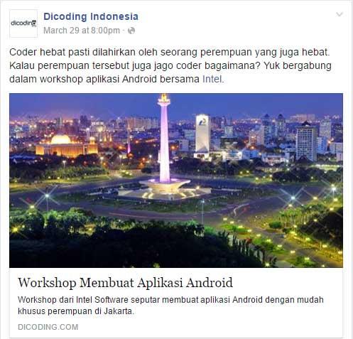 Workshop Membuat Aplikasi Android Khusus Perempuan di Jakarta
